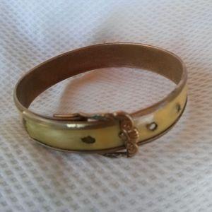 Victorian Baby Buckle Bracelet Brass Celluloid